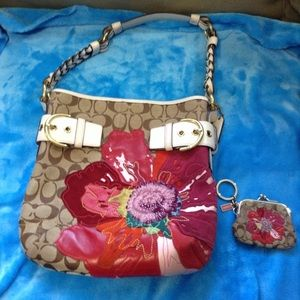 Coach Flower Hobo with Coin Purse